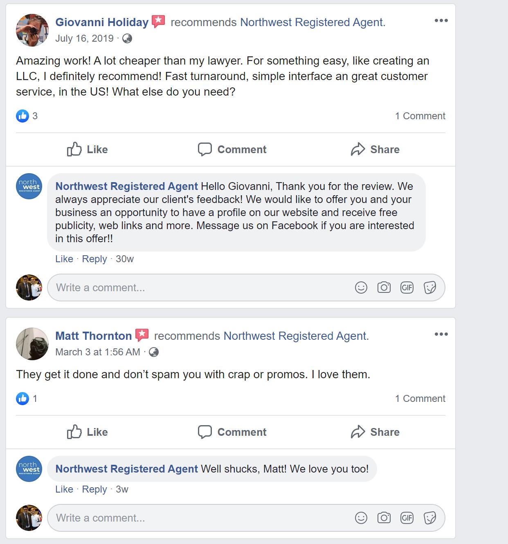 Northwest Registered Agent LLC Service reviews on Google Facebook