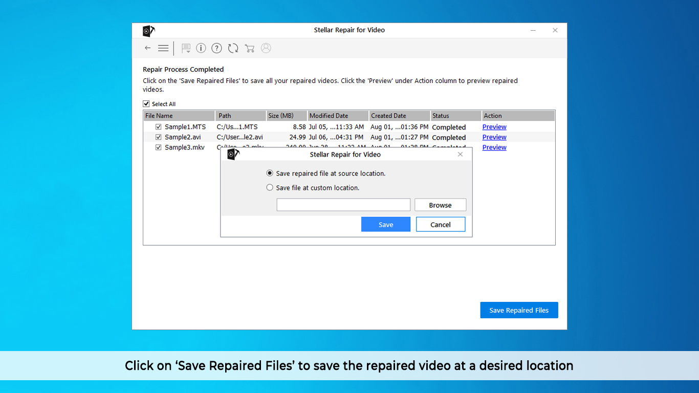 Save repaired files