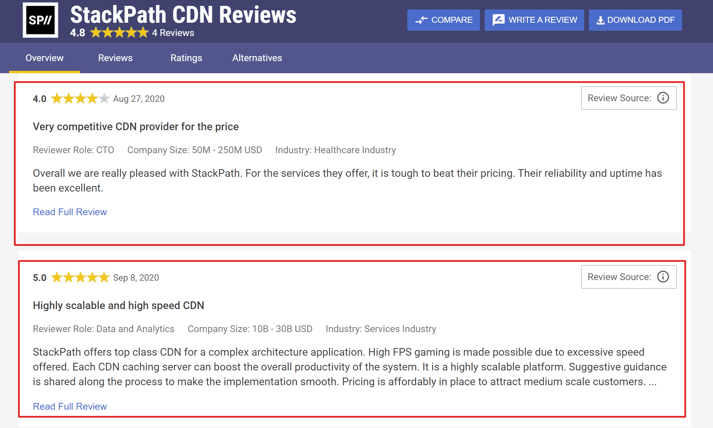 Stackpath Pricing reviews