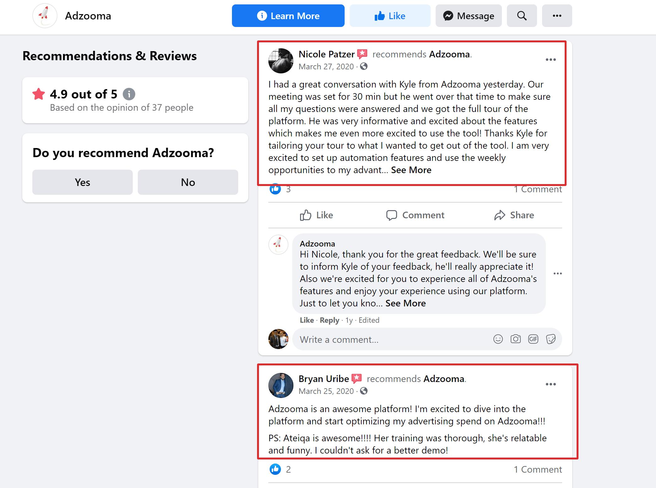 Adzooma customer reviews