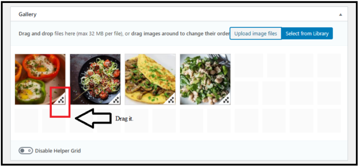 Drag Image Gallery in WordPress - Drag Down