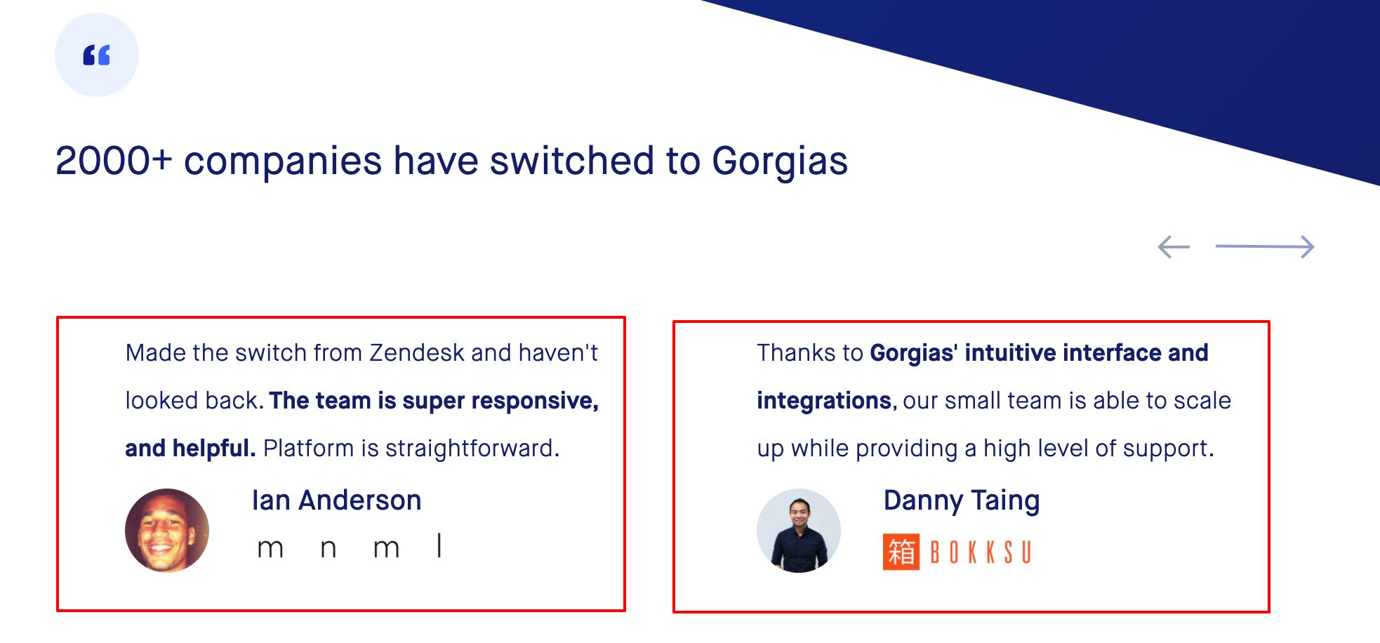 Gorgias - Customer Testimonials