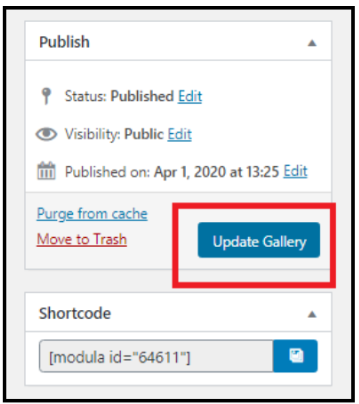 How to Create an Image Gallery in WordPress - Update Gallery