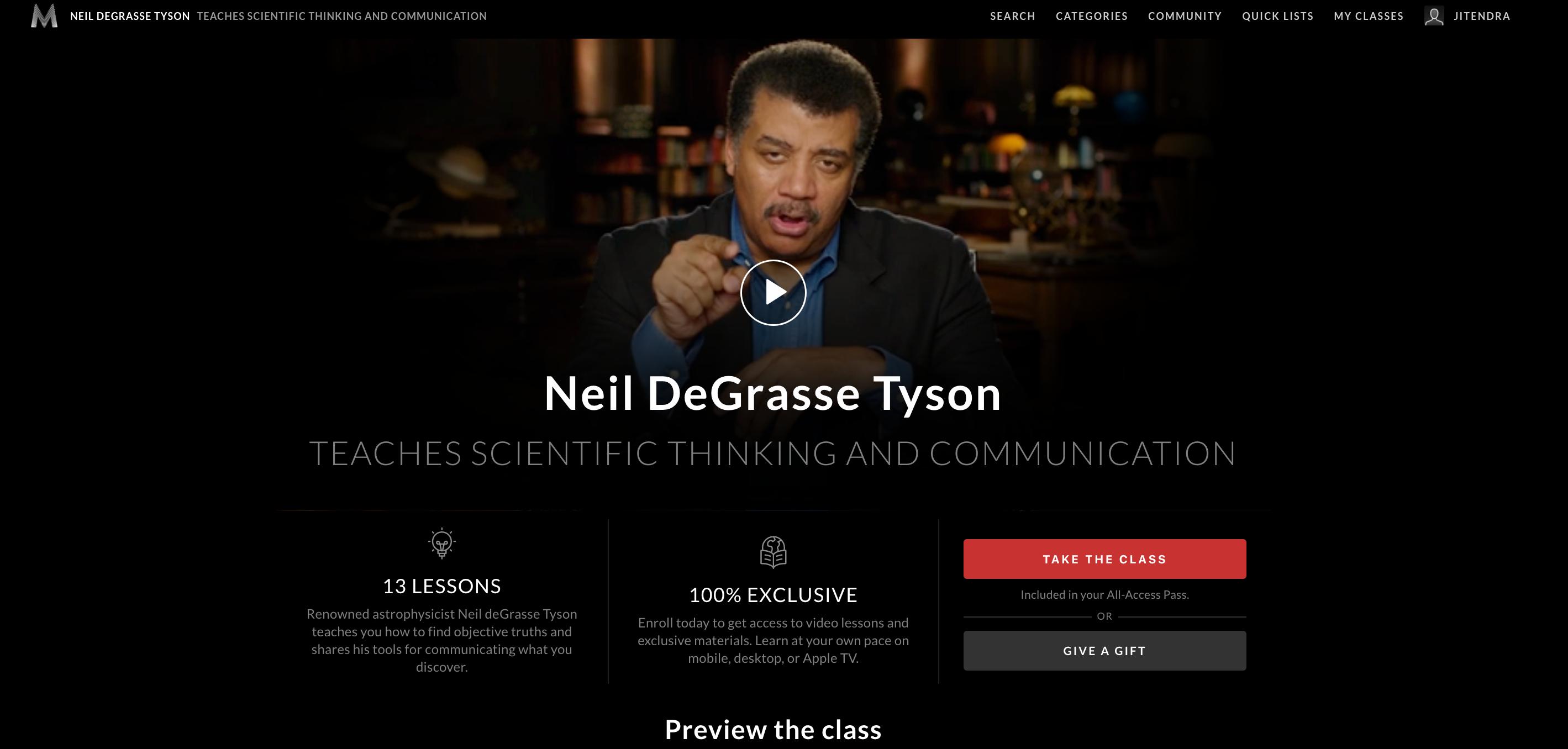 Neil DeGrasse MasterClass