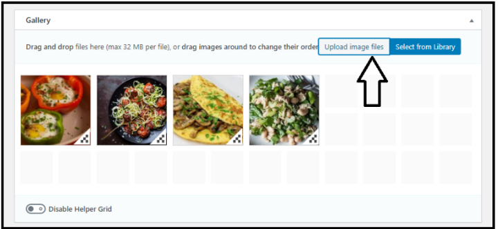 New Creat Image WordPress Gallery - Upload Image Files