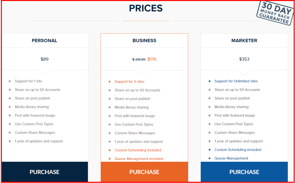 Revive Social Review - Revive Old Post Pricing Plan