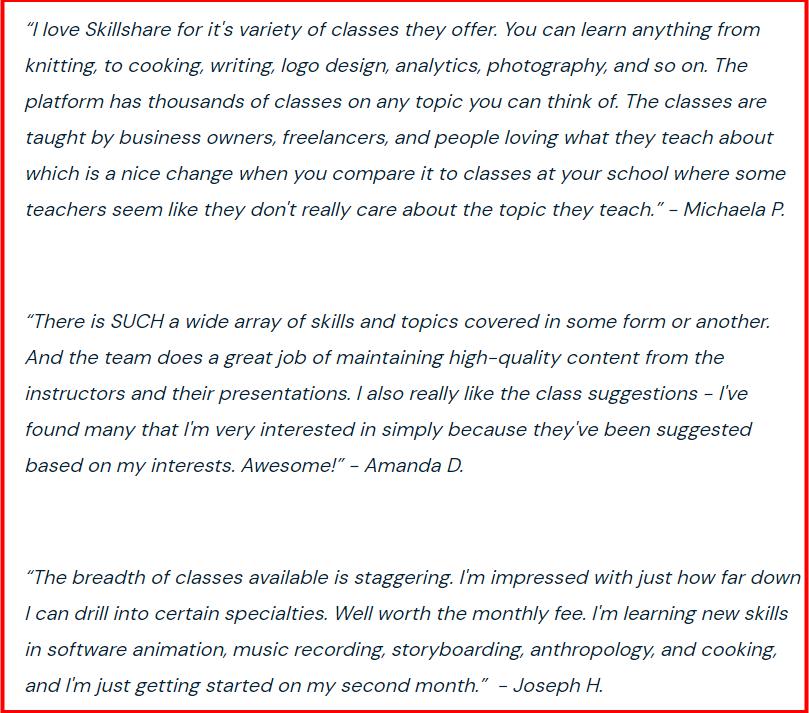 SkillShare- Learining Experiance