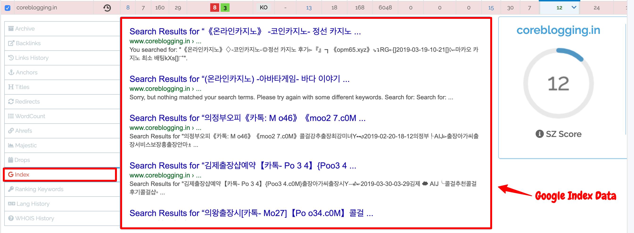 SpamZilla- Google Index Reports