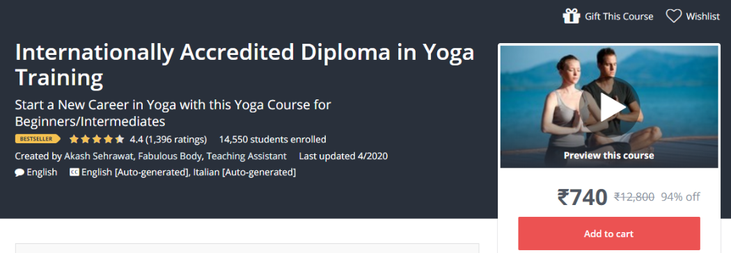 Udemy or Coursera - Diploma In Yoga