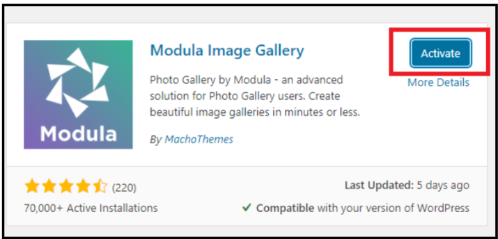 New WordPress Photo Gallery - Active Page