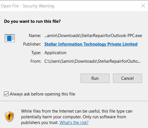Stellar Repair For Outlook - Open File