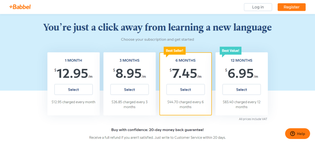 Babbel Pricing Review
