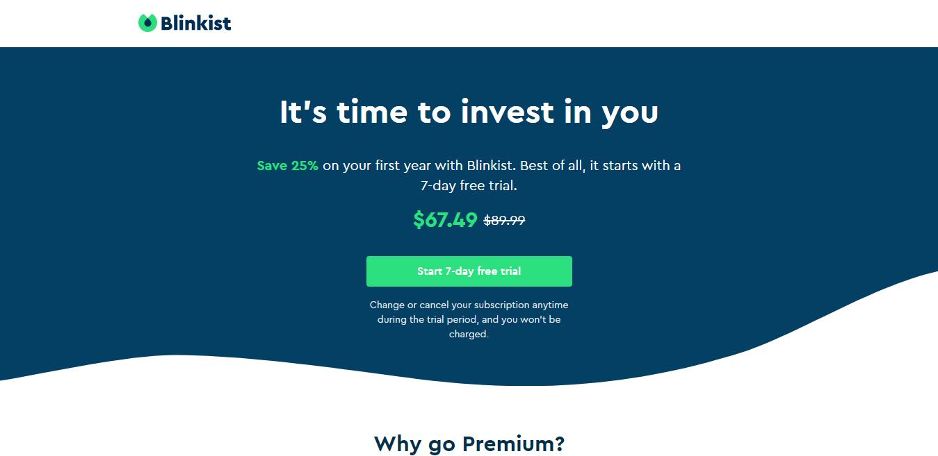 Blinkist Pricing