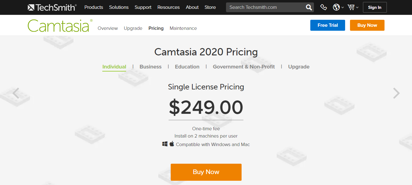 Camtasia Pricing