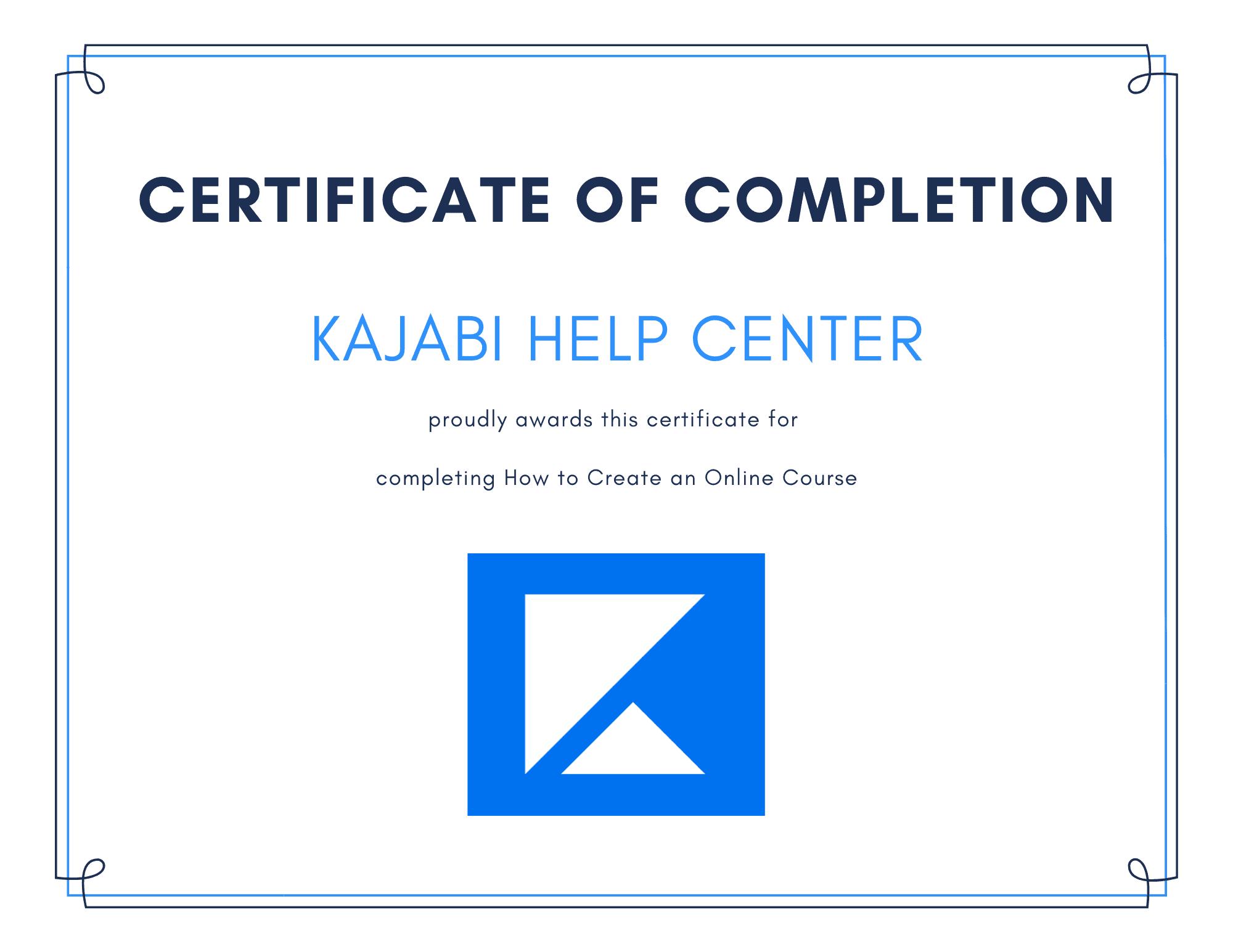 Certificate of Completion kajabi