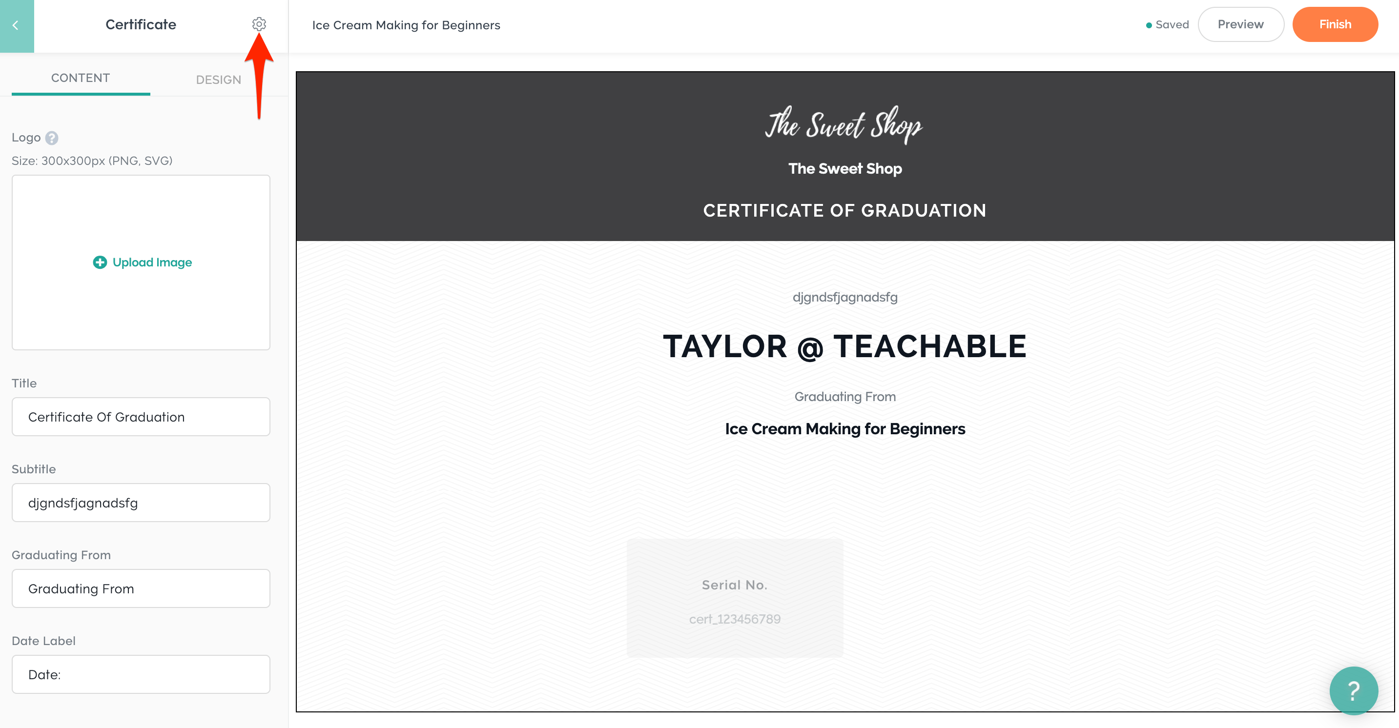 Certificate of Completion teachable