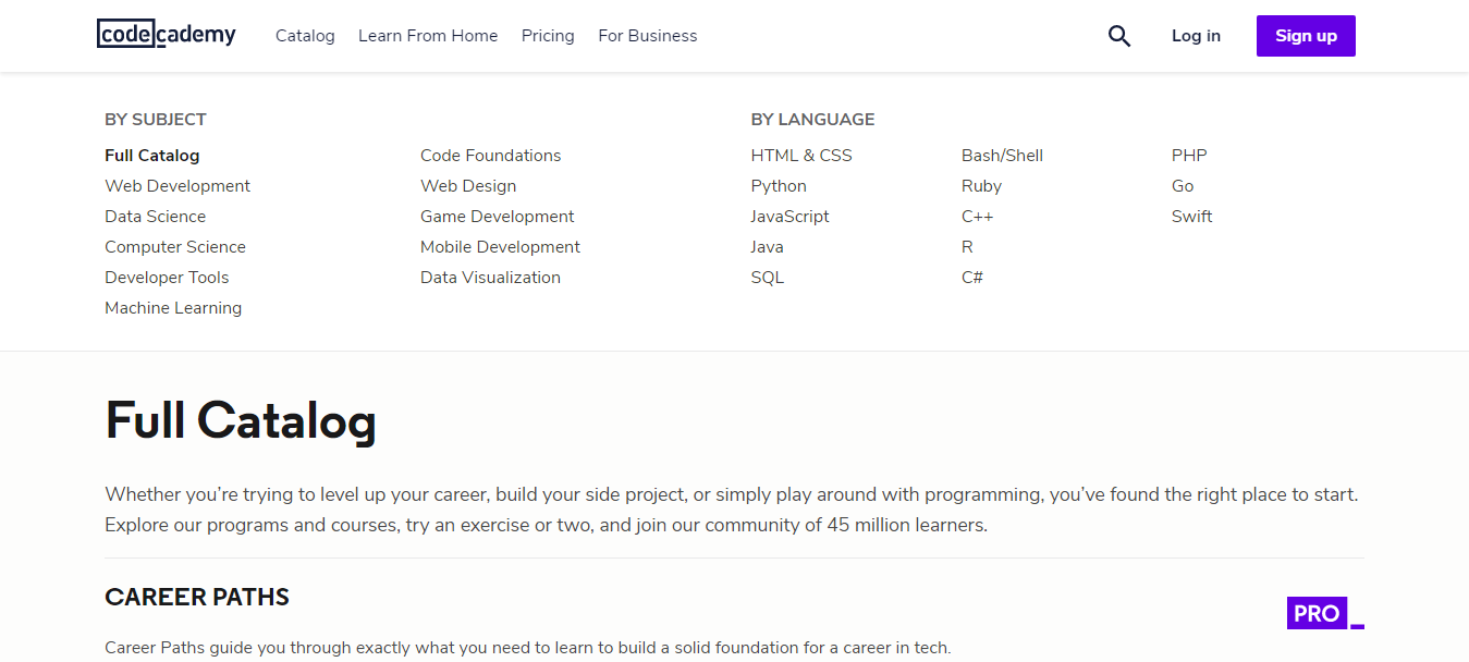 Codecademy Courses Offered