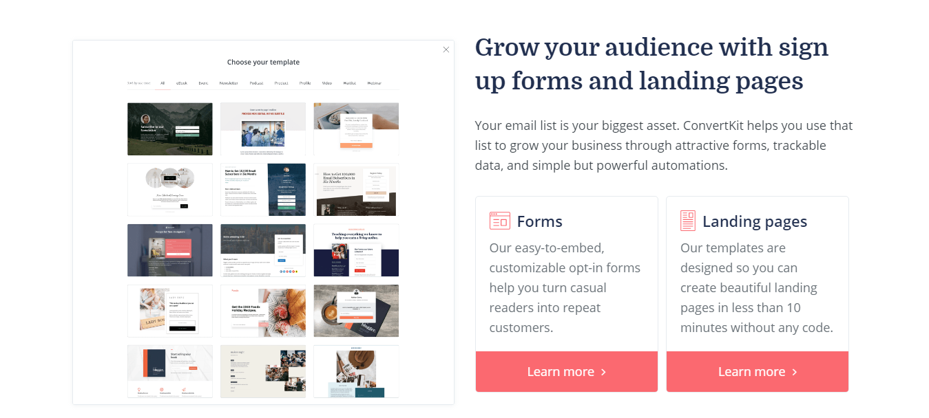 Convertkit Forms and Landing Page