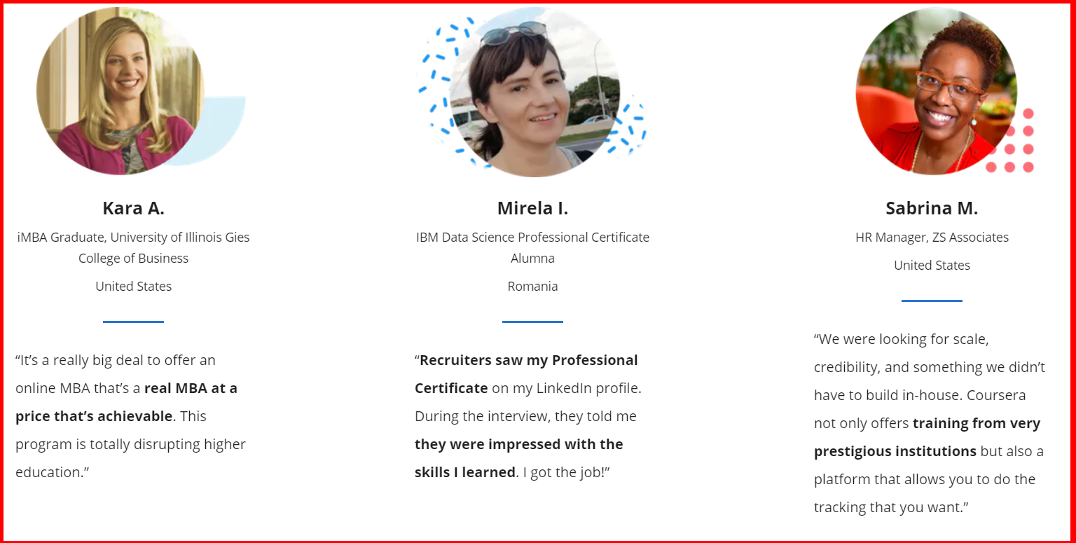 Coursera - Testimonials