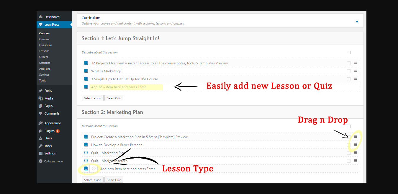 Create Course Easily with LearnPress