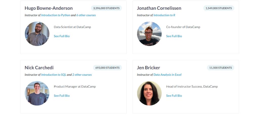 Datacamp Tutors and Instructors
