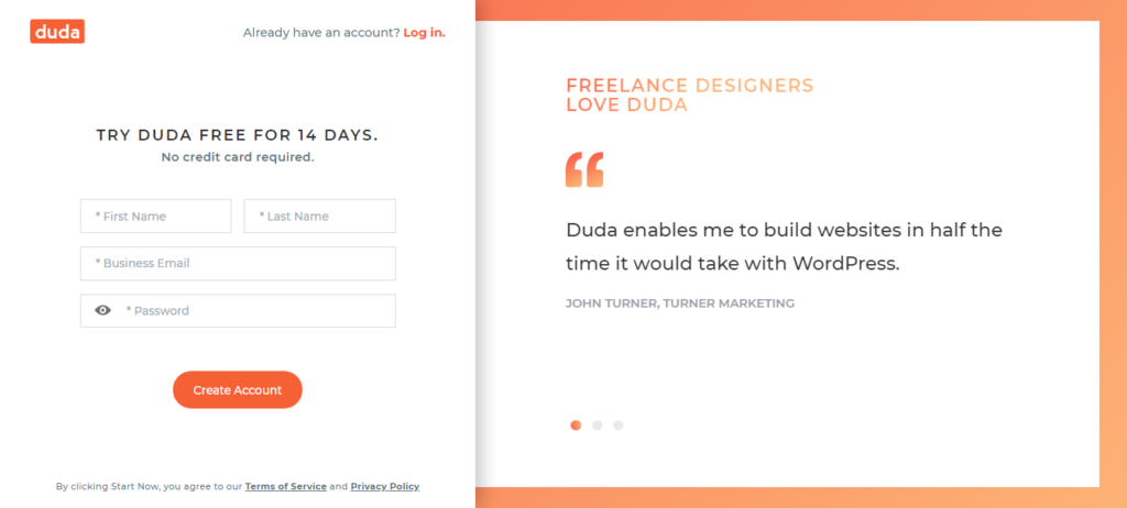 Duda- easy to sign up