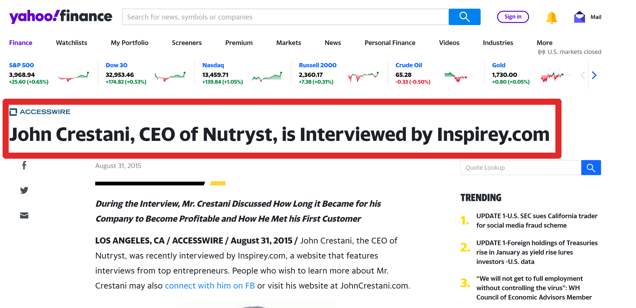 John Crestani CEO of Nutryst