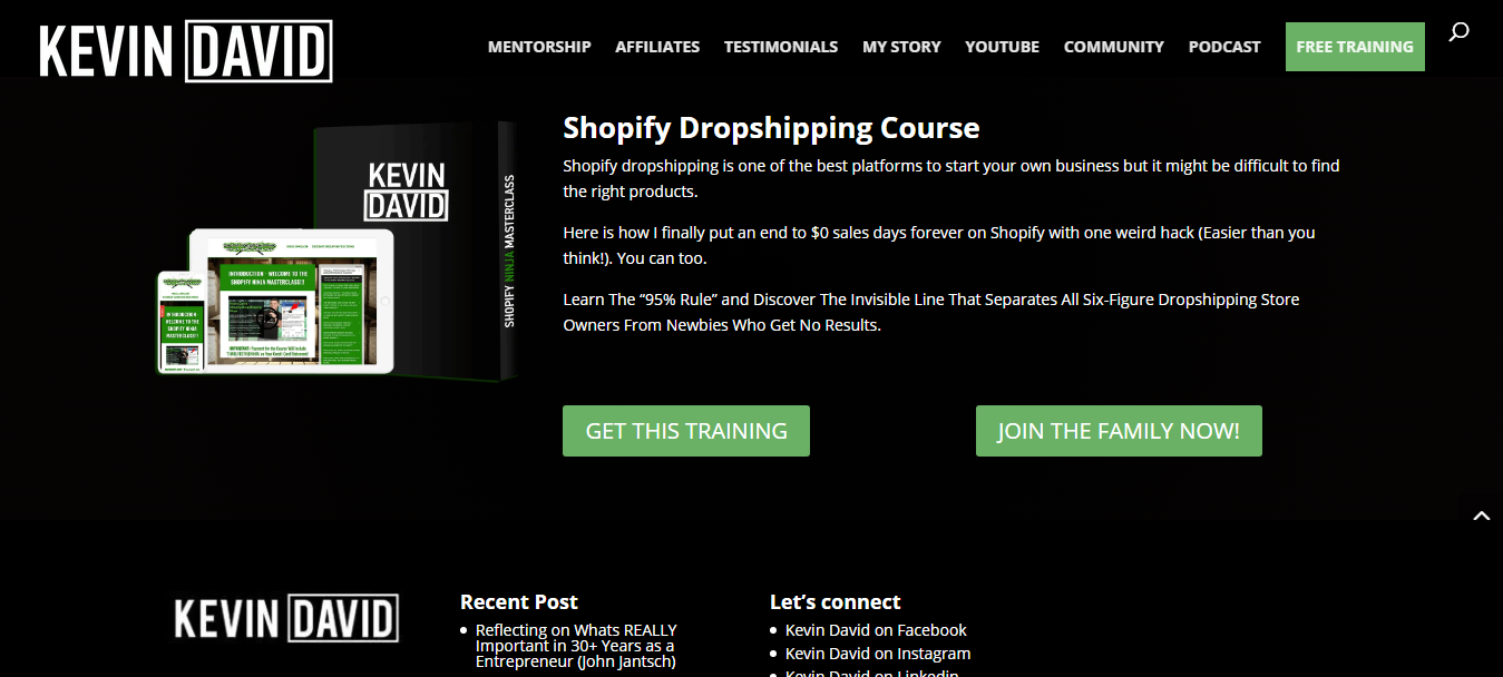 Kevin Davis's Shopify Ninja Masterclass Review
