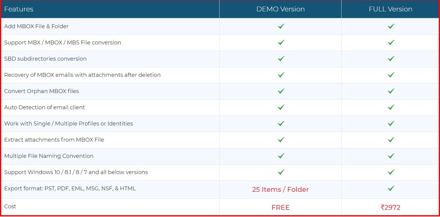 MBOX Converter Tool - Pricing Plan