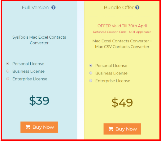 Mac Excel Contacts Converter – Pricing Plan