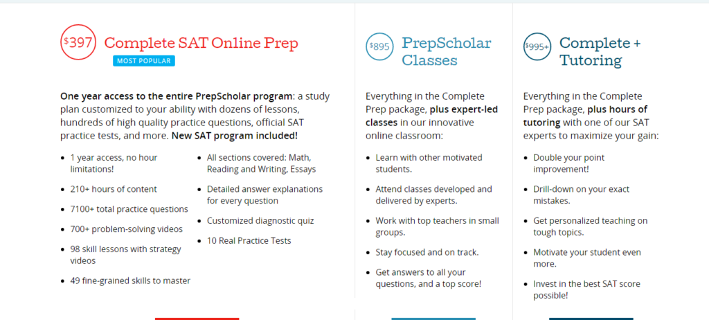 Prepscholar Pricing plan