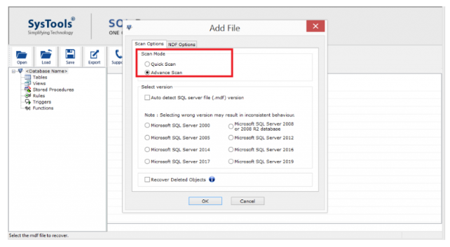 Scan SQL Mode Recovery- Scan Mode