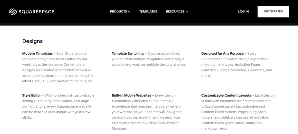 Squarespace Design Features