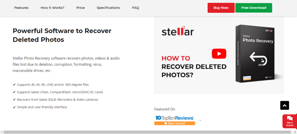 Stellar Photo Recovery tool recovers deleted files
