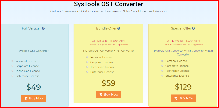SysTools_OST Converter - Pricing Plan
