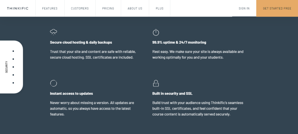Thinkific Security and Hosting