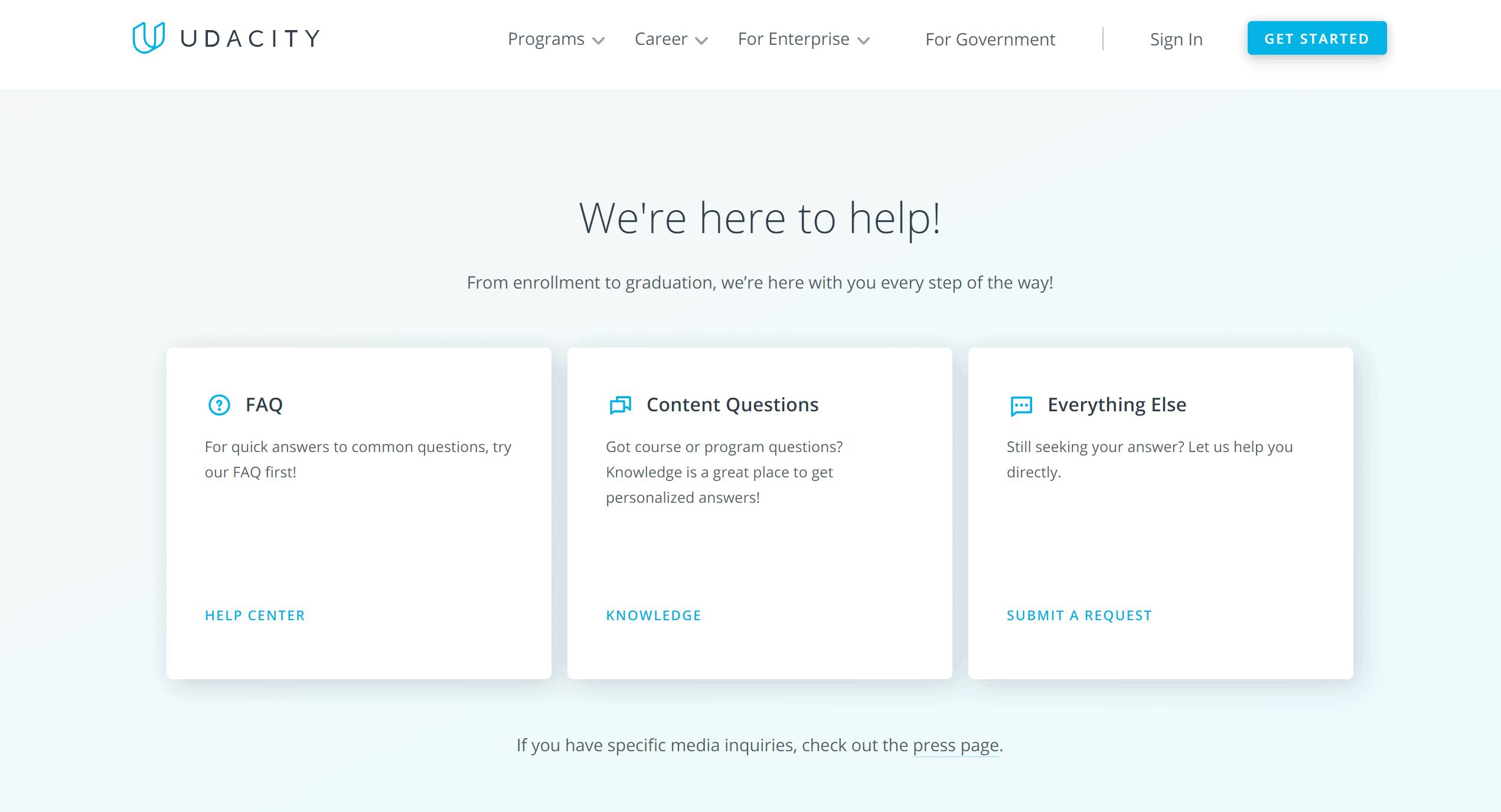Udacity support