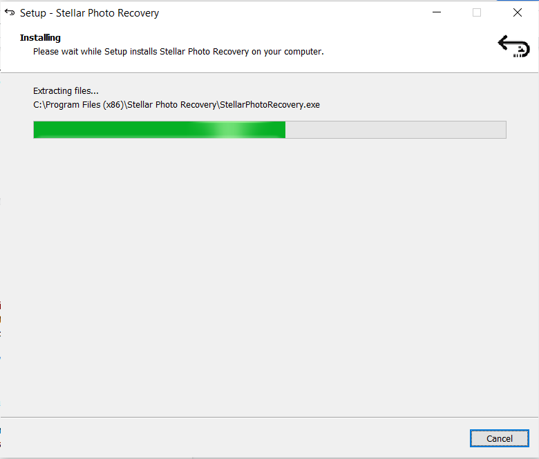 Installation begins for stellar photo Recovery Tool