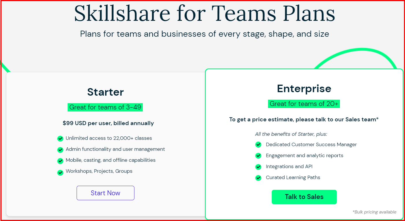 skillshare Pricing plan