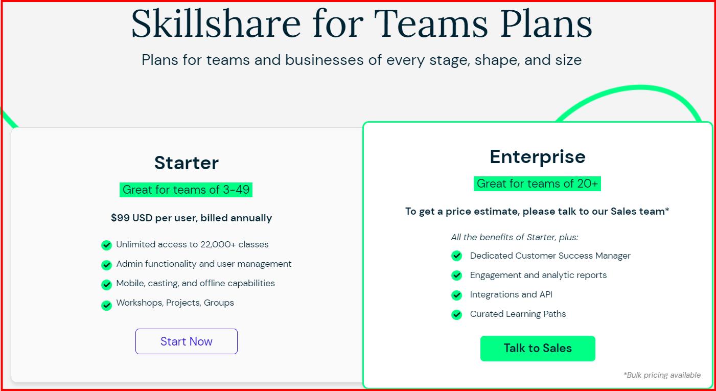 skillshare Vs Brilliant- Pricing plan