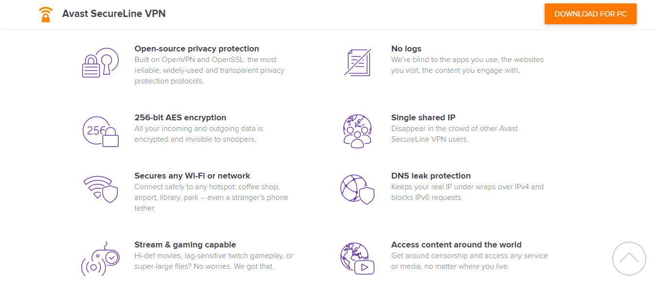 Avast SecureLine VPN Features