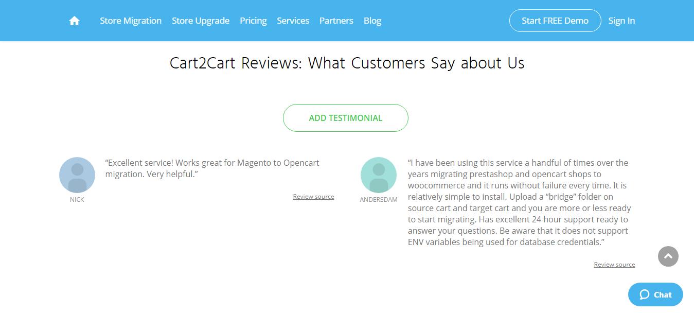 Cart2Cart Customer Reviews