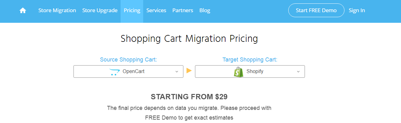 From OpenCart To Shopify with Cart2Cart
