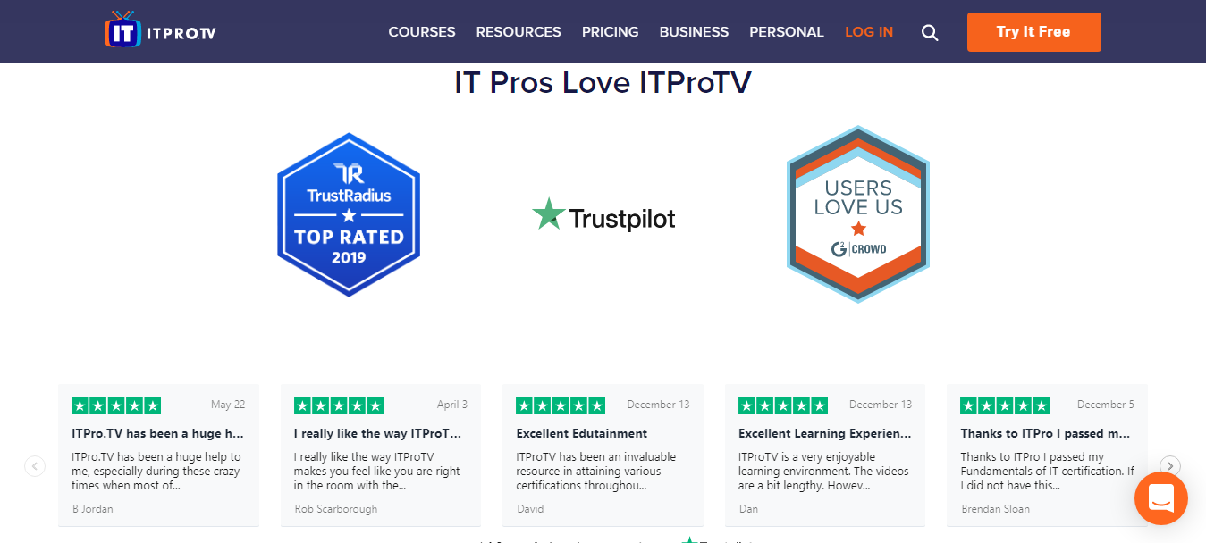 ITProTV Customer Reviews