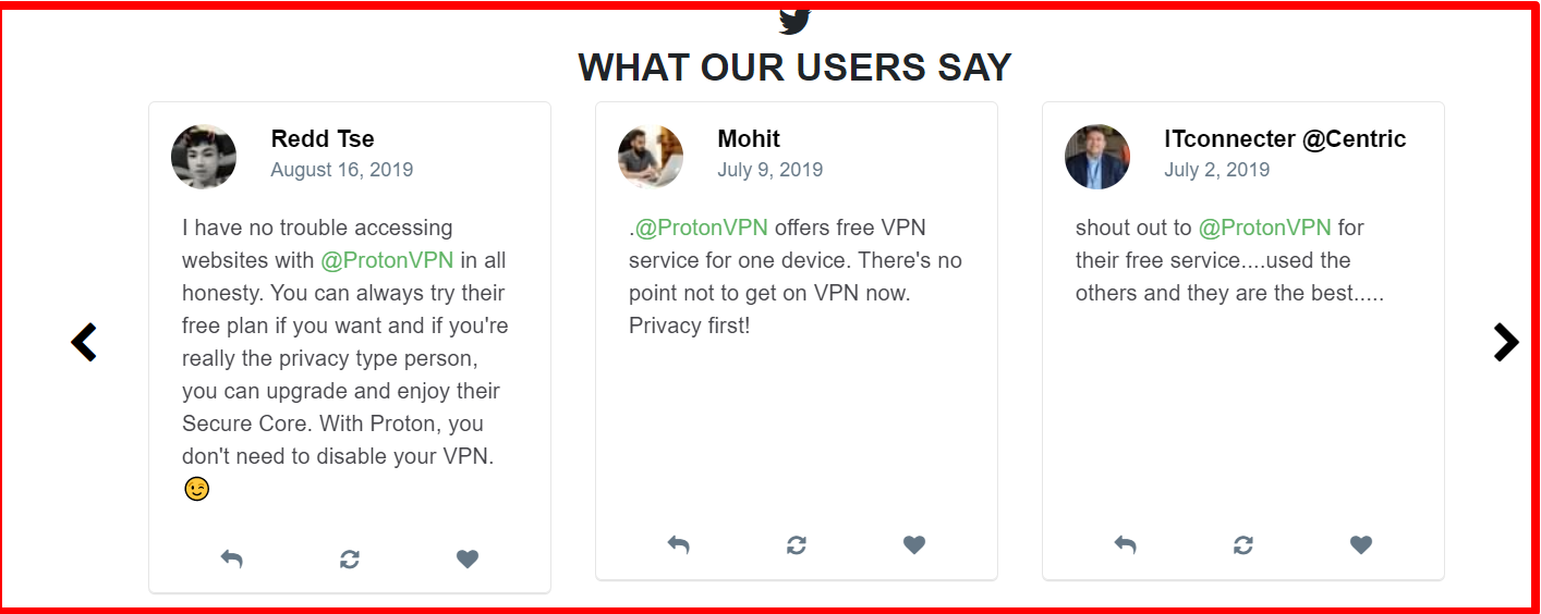 ProtonVPN - Testimonials