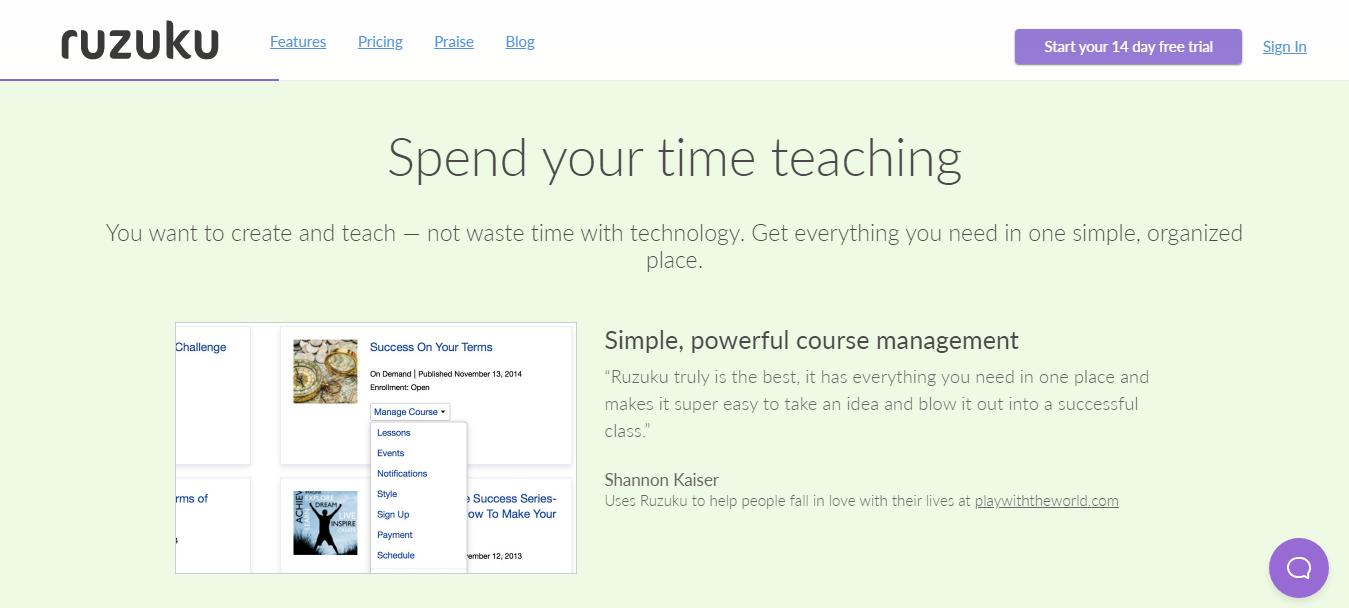 Ruzuku-Easy Course Management