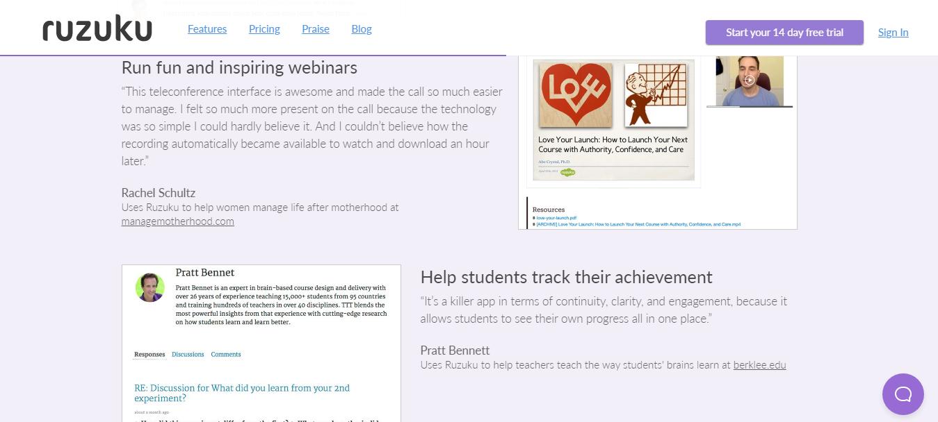 Ruzuku- Hosting Webinars