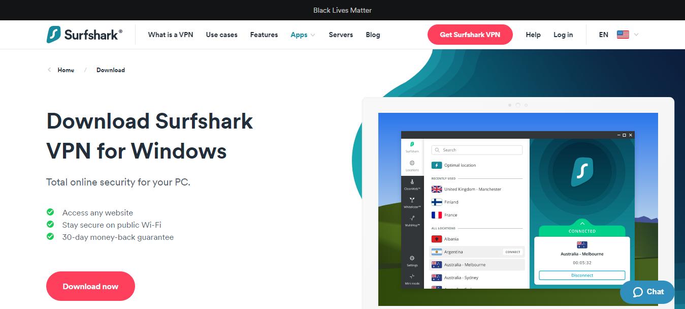 Surfshark Windows Application