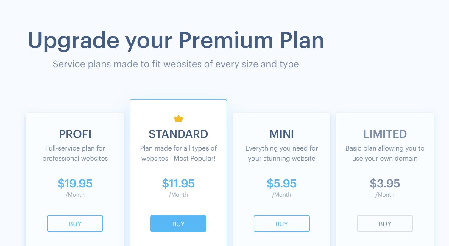Webnode Review - Pricing Plan