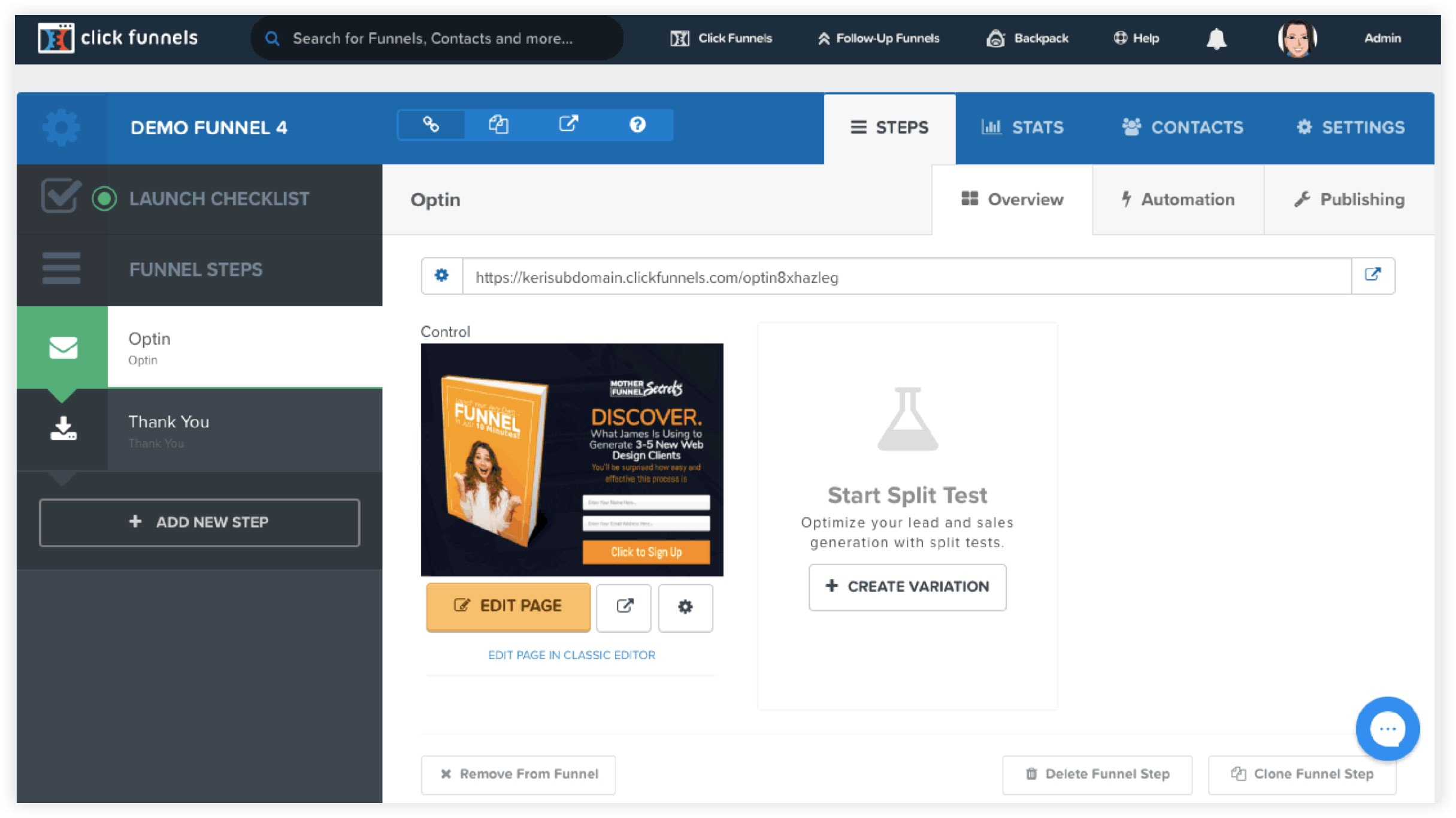 Funnel testing by clickfunnels